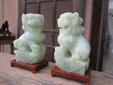 CARVED FOO DOG STATUES NEPHRITE JADE FOR EXPORT MARKET MELON LIGHT GREEN GORGOUS