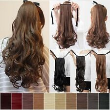 Long Real Hair Wrap Around Ponytail Clip In Hair Extensions Brown Black Gray Fl2