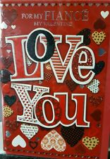 * Valentines Greetings Cards ~ Fiance (Male) ~ Free Postage ~ Love You Hearts *