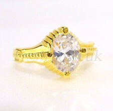 24K Yellow Gold Plated Oval CZ Cubic Zircon Engagement Birthday X'mas ring M N Q