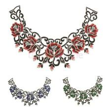 Vintage Tribal Embroidered Floral Neckline Neck Collar Trim Sewing Appliques