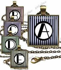 Custom Initial Glass Top Pendant Necklace w/chain Handcrafted Personalized Gift