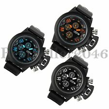 Date Stopwatch Men's Quartz Army Military Black Rubber Band Sport Wrist Watch