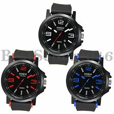 Men's Date Quartz Army Military Black Rubber Band Sport Outdoor Wrist Watch