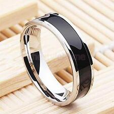 Cool Titanium Stainless Steel Men's Silver Black Wedding Band Rings Size 5-12