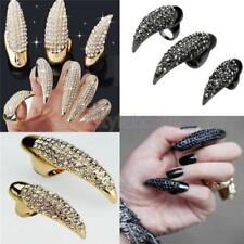 Lots 5Pcs False Nail Crystal Claw Paw Talon Finger Ring Punk Gothic Jewelry