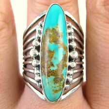 ROIE JAQUE Handmade Navajo Solid 925 Sterling Silver Turquoise Ring Sz 8.25 J M