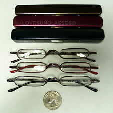 Reading glasses ultra light thin slim small mini compact metal case spring hinge