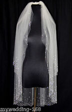 White Light ivory 2 Tier Fingertip Crystals stick drill Bridal Wedding Veil&comb