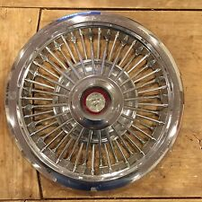 """1967 Mercury Wire Hub Cap 15"""" Stainless With Chrome and Plastic Center"""