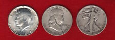 Lot of 3 different 90% SILVER Half Dollars - Walking Liberty, Franklin, Kennedy