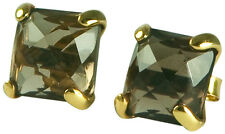 SMOKEY QUARTZ/24KT & STERLING SILVER (.925) SEMI PRECIOUS STUD EARRINGS