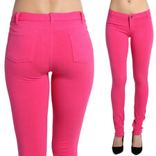 MOGAN Super Comfortable Stretch Knit Ankle SKINNY PANTS Zipper Leggings Pink S