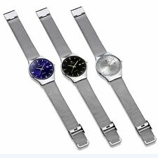 Date Quartz Analog Luxury Wrist Watch Mesh Strap Stainless Steel Ultra Thin