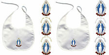 Baby Christening Baptism White Bib Wipe Gold Silver Embroidery Holy Virgin Mary