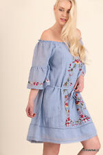NWT UMGEE Plus Peasant Style Off Shoulder Blue Embroidered Dress WA2856  XL-2X