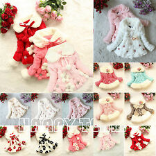 Toddler Baby Kids Girls Faux Fur Fleece Coats Jacket Princess Winter Snowsuits