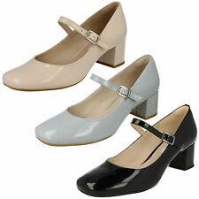 LADIES CLARKS CHINABERRY POP LEATHER PATENT MARY JANE BLOCK HEEL STRAP SHOES