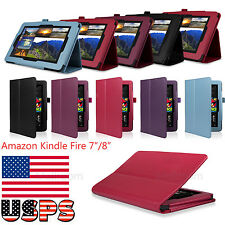 "Tri-Fold Leather Stand Handle New Case Cover for Amazon Kindle Fire HD 7""8"" USPS"