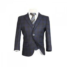 Boys Checkered Brown Blue Suits Boy Wedding Prom Suit 3 Piece 5 Piece Kid Outfit