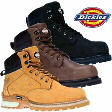 DICKIES CANTON Safety Work Boots Black/Brown STEEL TOE Nubuck Leather