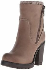 Steve Madden Womens Sweaterr Leather Closed Toe Ankle Platform Boots