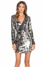 NWT RACHEL ZOE MICAH DRESS SZ 0,2,4,6 SILVER BLACK CONFETTI SEQUIN MINI L SLEEVE