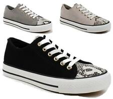 WOMENS FLAT FAUX SNAKE LEATHER LACE UP TRAINERS SNEAKERS PLIMSOLLS PUMPS SHOES
