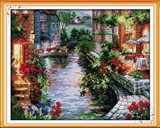 Counted Cross Stitch Kit The lakeside Houses Nature Beautiful View Garden Villa