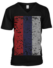 Distressed Oversized Russian Flag - Russia Pride Mens V-neck T-shirt