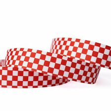 """7/8""""22mm Red Plaid Patterns Printed Grosgrain Ribbon10/50/100y Hairbow Wholesale"""