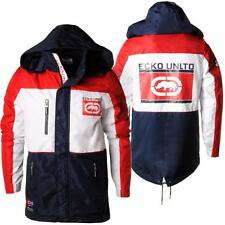 Ecko Unltd Mens Jacket Camber Hooded Coat Yacht Style Coat White/Red/Navy S-XL