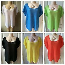 WOMENS PLUS TOP 1X NEW LACE BLUE GREEN ORANGE YELLOW TUNIC NWT CUTE SPRING DEAL