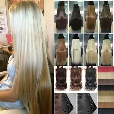 """Top 17-30"""" Real Thick Clip In Hair Extensions Wavy Straight Human Favor 1Pcs FM1"""