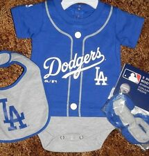 Los Angeles Dodgers Newborn Infant Jersey Bib & Bootie Set add any name & number