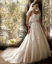 White /Shallow Champagne Wedding Dress Bridal Gown Stock Size 6/8/10/12/14/16