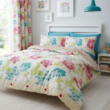 STAB STITCH FLORAL DUVET COVER BEDDING SET SINGLE DOUBLE KING SIZES