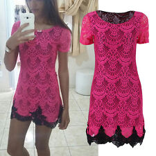 Summer Womens Slim Lace Floral Crochet Evening Party Cocktail Bodycon Mini Dress