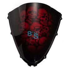 Airbrushed Red Skull Windscreen Windshield For Suzuki Fairing motorcycle BS