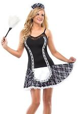 Sexy French Maid Costume Fancy Dress Black White Maids Outfit Womens Adult NEW