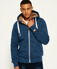 New Mens Superdry Orange Label Heavy Winter Zip Hoodie Petrol Blue Grit