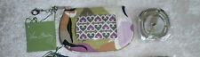 VERA BRADLEY CLIP ZIP ID CASE & LANYARD SET PORTOBELLO ROAD BADGE KEY NWT NICE