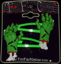 Too Fast Zombie Hands Hair Clips Rockabilly Tattoo Pinup Gothic Punk Psychobilly