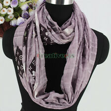 Fashion Women Plaid Trinkets Hanging Beads Crinkled Soft Long/Infinity Scarf New