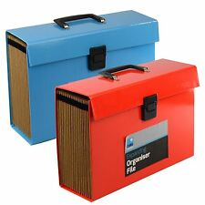 19 Pocket Expanding Box File Organiser A4 Paper Documents Foolscap Folder Case