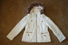 NWOT Girls Limited Too Faux Fur Jacket Coat Ivory Size 8 Nice LQQK Free Shipping
