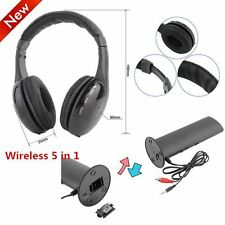 LOT 5 in 1 Hi-Fi Wireless Headset Headphone Earphone for TV DVD MP3 PC Black F6