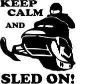 Snowmobile Keep Calm Sled On Vinyl decal sticker polaris skidoo arctic cat