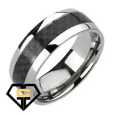 8MM Titanium Black Carbon Fiber Stripe Mens Wedding Engagement Band Ring