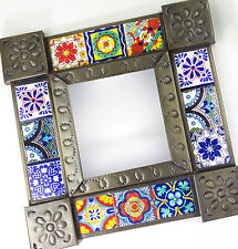 Ceramic Talavera Tile & Pierced Tin Metal Mexican Mirror Mexico Handcrafted Wall